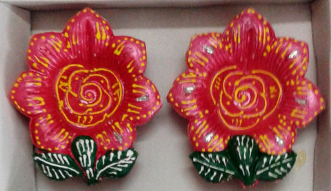 Decorative diya Set of 2 pieces handicraft clay diya