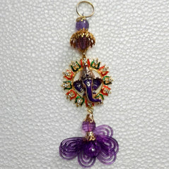 Lord Ganesha Wall Hanging Showpiece with Jewel Stone Decorations Multi Colour