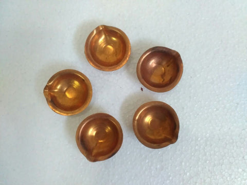 Copper Diya Set - Deep Dan Diya Set Of 5 Pcs