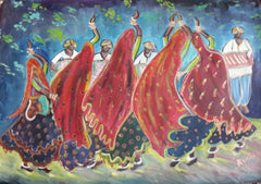 Garba Oil Painting on Canvas 63 cm x 48 cm Unframed