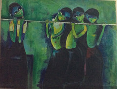 Girls Playing Flute Oil Painting on Canvas 76 cm x 30 cm Unframed