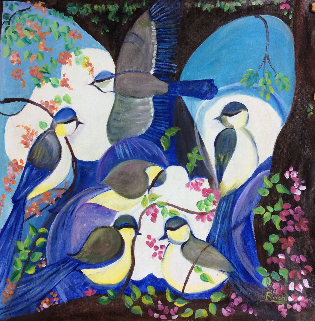 Royal Birds Oil Painting on Canvas 53 cm x 53 cm Unframed