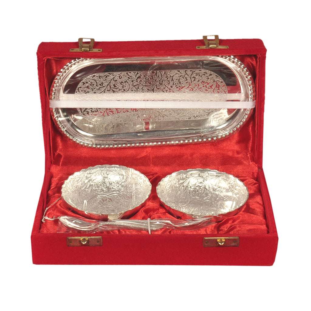 Silver Plated Designer Bowl Set With Tray & Spoons - Item Code 196