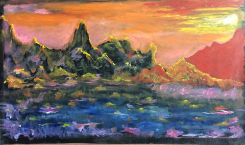 Kailash Mountain, Oil Painting on Canvas 93 cm x 55 cm Unframed