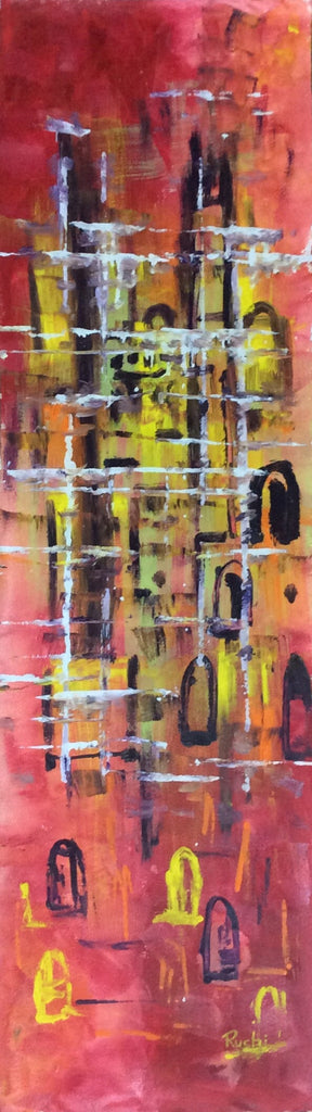 Abstract Long ,2, Oil Painting on Canvas 33 cm x 111 cm Unframed