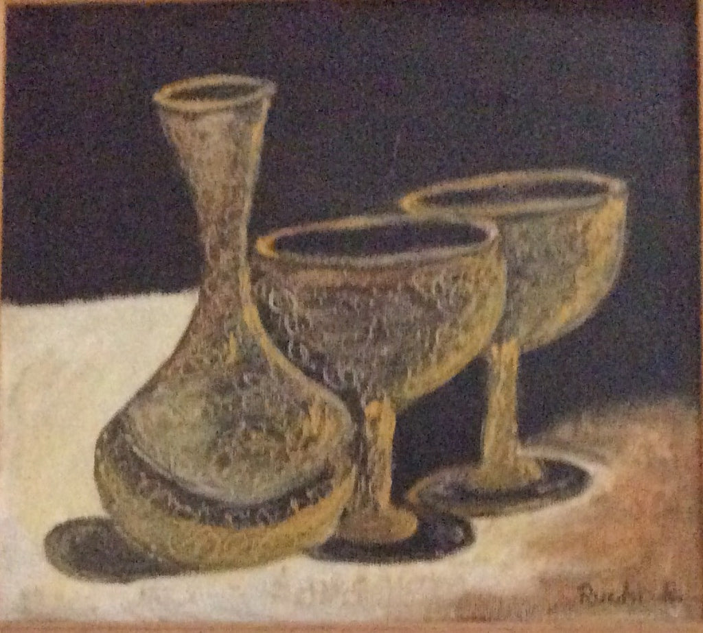 Pots Oil Painting on Canvas 28 cm x 28 cm Unframed