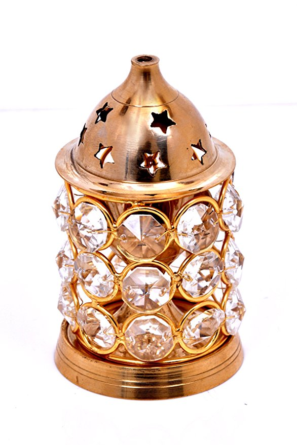 Akhand Diya Decorative Brass Crystal Oil Lamp / Lantern Oval Shape Puja Lamp