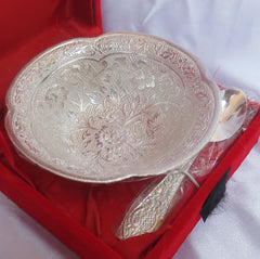 Silver Coated Bowl in Red Color Box in Flower Design - Item Code 242
