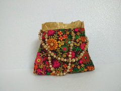 Bagaholics Ethnic Hand Bag with Flower Embroidery Clutch and  Beaded Handle