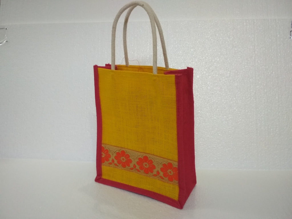 Jute Bag With Silk Border