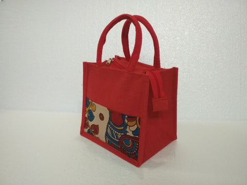 Jute Bag With Kalamkari Patch Work
