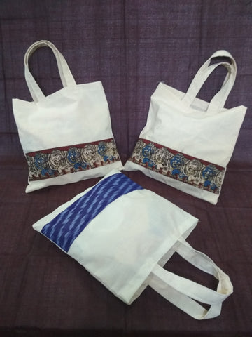 Fabric gift bags - hand made with lovely Kalamkari and Pochampally borders to give ethinic look