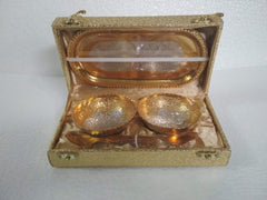 Gold Plated Designer Bowl Set With Tray & Spoons - Item Code 118