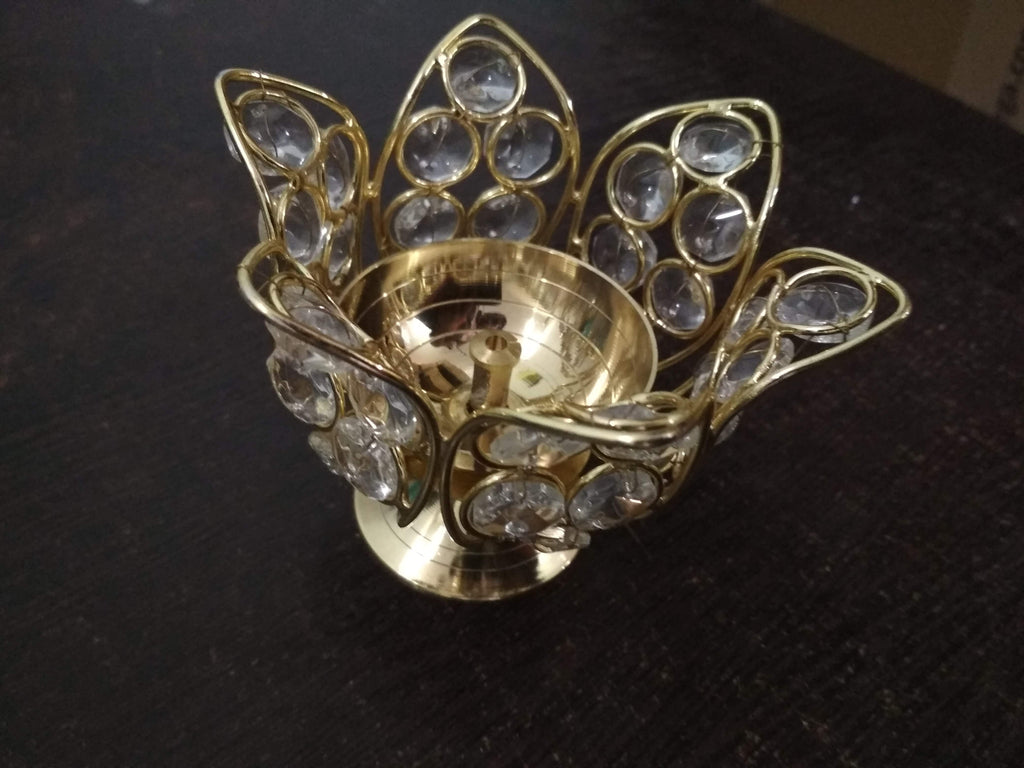 Brass Lotus Crystal Bowl Brass Lotus Flower Design Diya