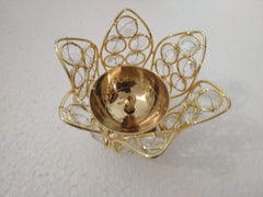 Brass Lotus Crystal Bowl / Brass Lotus Flower Design Diya