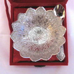 Bowl Set With Spoon Silver Plated - Item Code 280