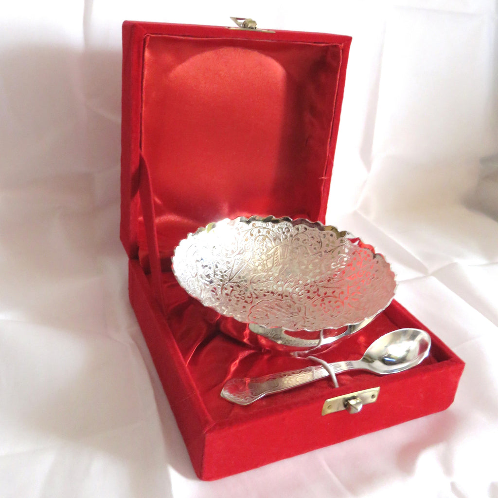 Bowl Set With Spoon Silver Plated - Item Code 278