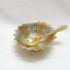 Bowl Set With Spoon Silver & Gold Plated - Item Code 283