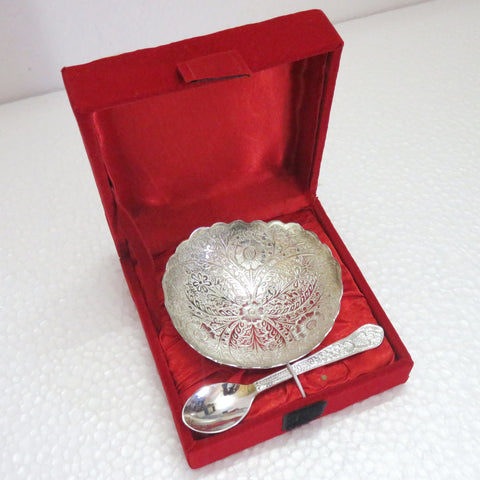 Triangle Shaped Bowl Set With Spoon Silver Plated - Item Code 301