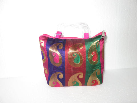 Plastic Handled Feather design Potli Bag