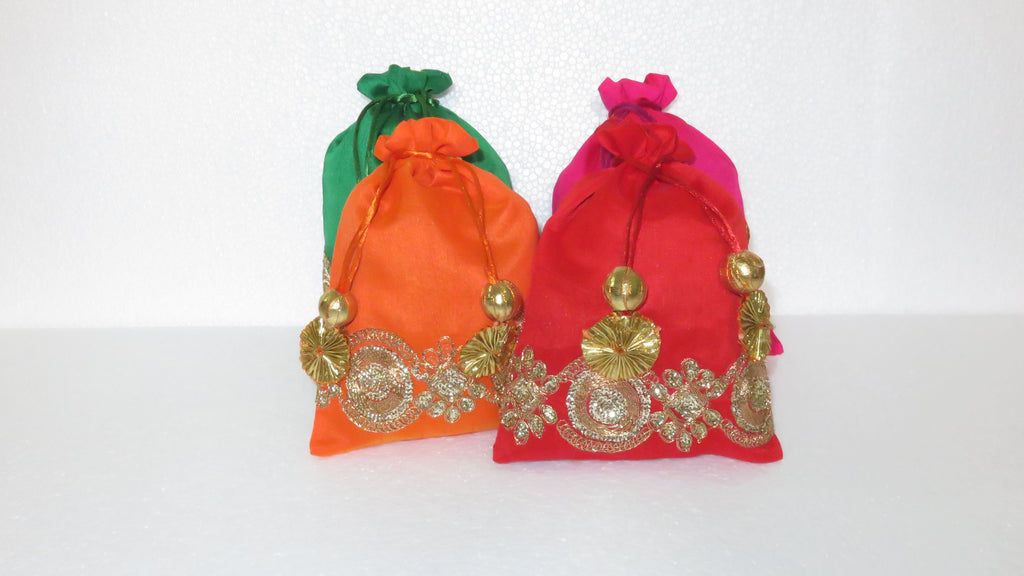 Potli Bag Raw Silk with Golden Zari Work