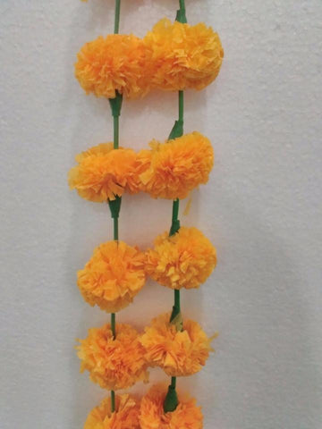 Artificial Marigold Fluffy Flower Garland For Decoration