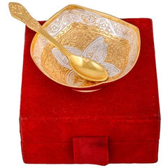 Square Shaped Bowl Set With Spoon Silver & Gold Plated - Item Code 299