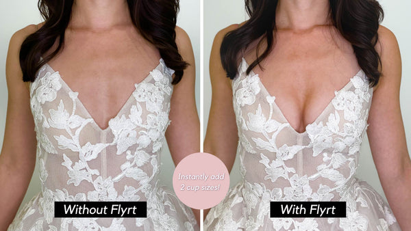 before and after lace adhesive bra add two cup sizes for cleavage