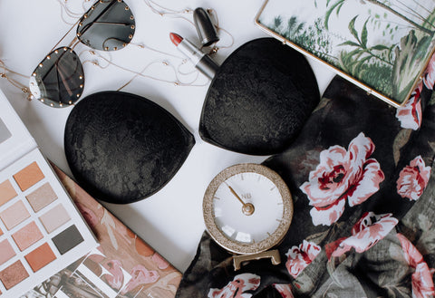 black lace adhesive bra for summer travel