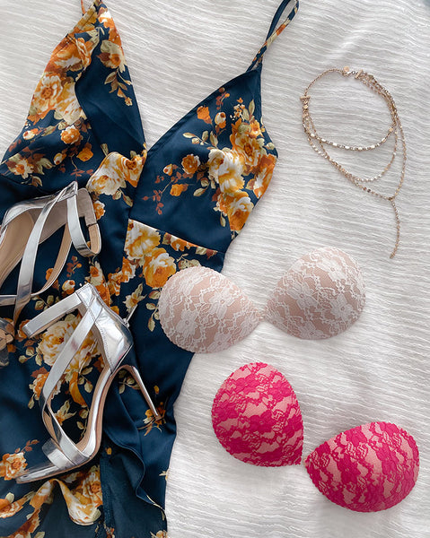 pink and nude lace adhesive bras with navy floral dress