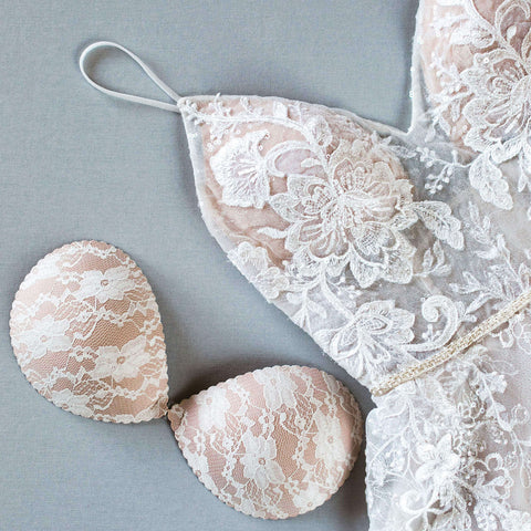 Nude lace adhesive bra and bridal gown