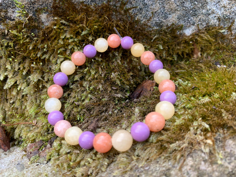 Phosphosiderite, Honey Calcite, & Orange Calcite Bracelet