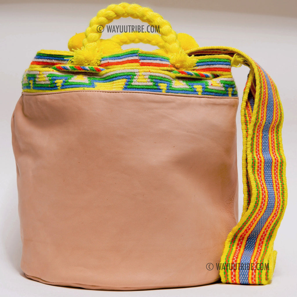 Calfskin Leather Lined Hermosa Wayuu Bag - MOCHILAS WAYUU BAGS  - 2