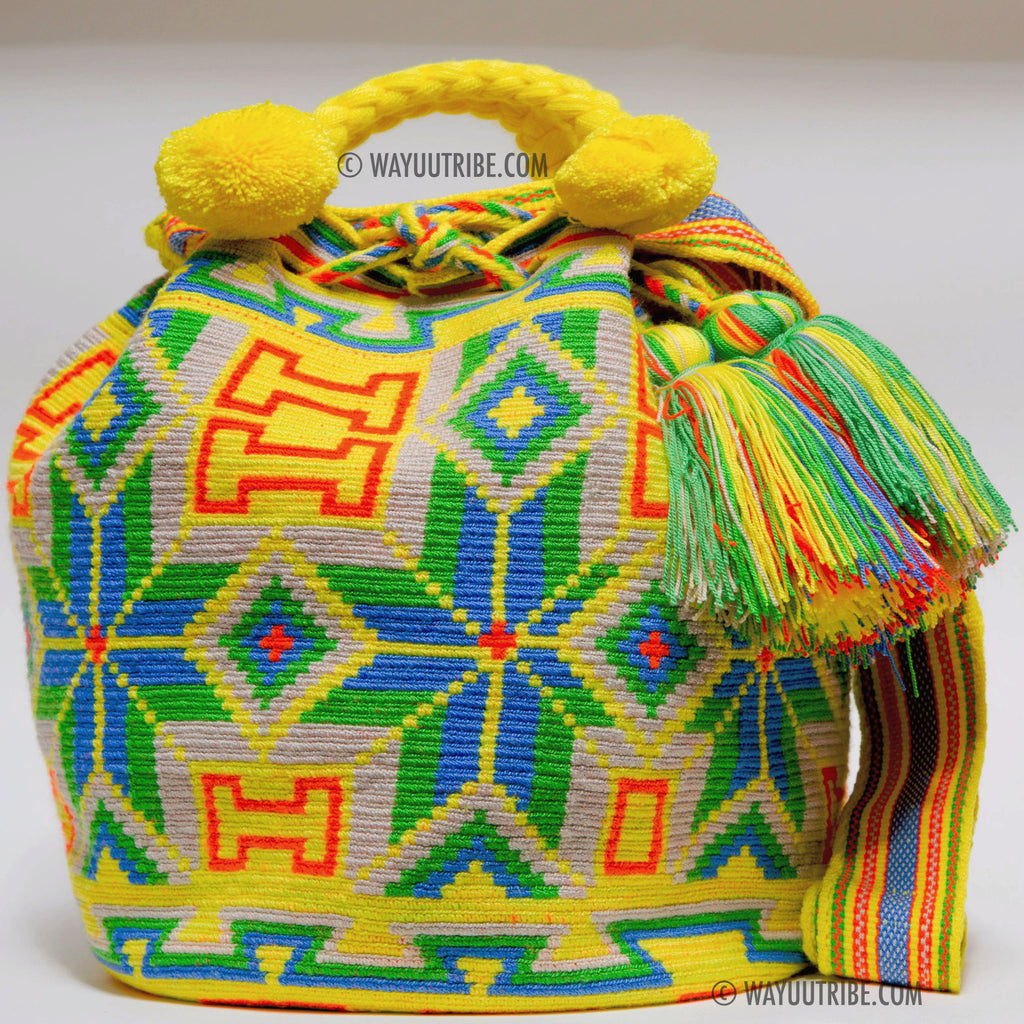 Calfskin Leather Lined Hermosa Wayuu Bag - MOCHILAS WAYUU BAGS  - 1