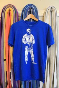 BJJ Skull Guy Blue and White T-shirt