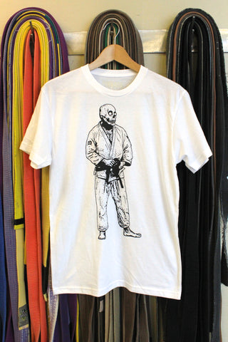 BJJ Skull Guy White and Black T-Shirt