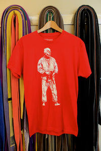 BJJ Skull Guy Red and White T-shirt