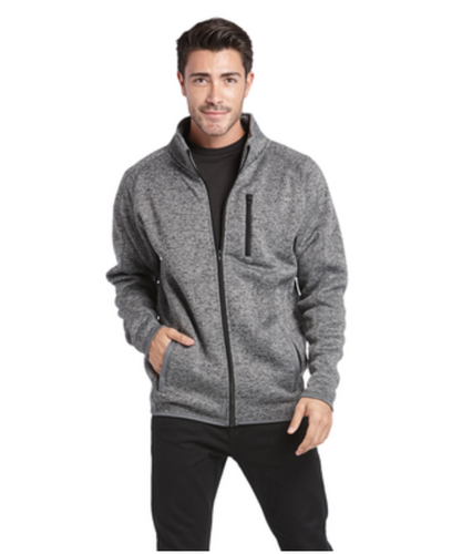 Burnside Men's Sweater Knit Fleece Jacket HEATHER GREY (Embroidered)