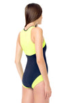 Signature Round Neck Front Zip One Piece Swimsuit