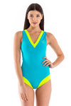 Vibrant Stripes V Neck One Piece Swimsuit