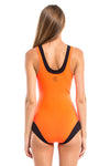 Vibrant Stripes V-neck One Piece Swimsuit