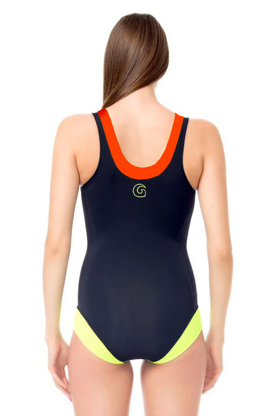 Signature V Neck One Piece Swimsuit