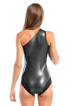 Black Pearl Assimetric Neck One Piece Swimsuit