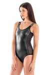 Black Pearl Round Neck One Piece Swimsuit