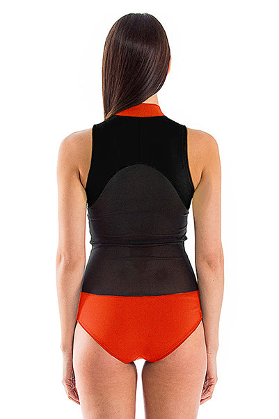 Signature High Neck Front Zip One Piece Swimsuit