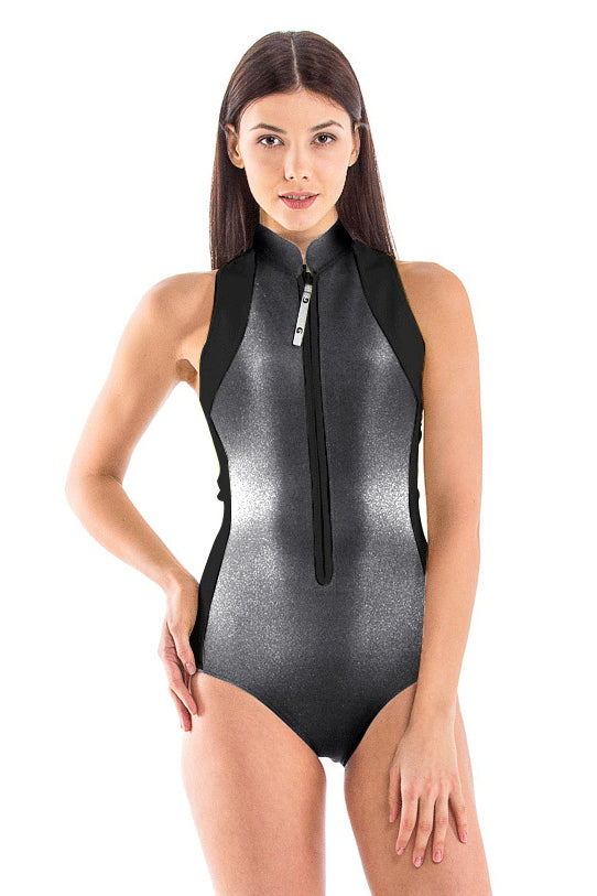 Black Pearl High Neck Front Zip One Piece Swimsuit