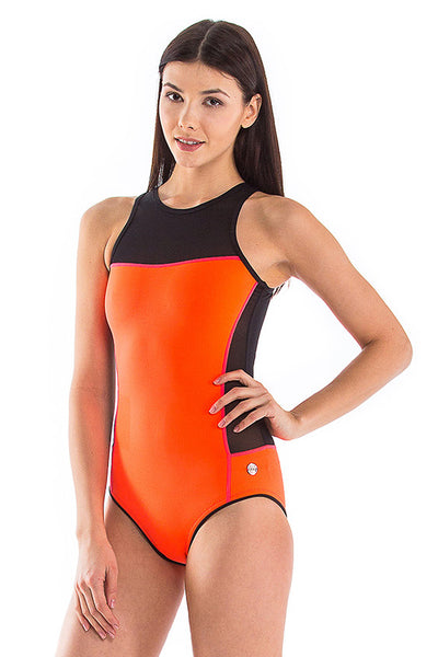 Signature Round Neck Back Zip One Piece Swimsuit