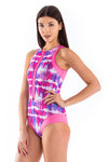 Tie Dye Round Neck Front Zip One Piece Swimsuit