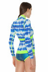 Tie Dye 1 MM Long Sleeve Front Zip Bikini Cut Shorty