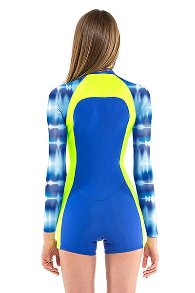 Tie Dye 2 MM Long Sleeve Front Zip GBS Springsuit